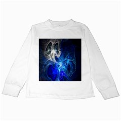 Ghost Fractal Texture Skull Ghostly White Blue Light Abstract Kids Long Sleeve T Shirts
