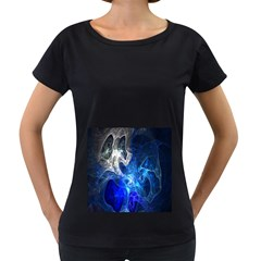 Ghost Fractal Texture Skull Ghostly White Blue Light Abstract Women s Loose-Fit T-Shirt (Black)