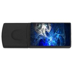 Ghost Fractal Texture Skull Ghostly White Blue Light Abstract USB Flash Drive Rectangular (4 GB)