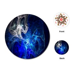 Ghost Fractal Texture Skull Ghostly White Blue Light Abstract Playing Cards (Round)