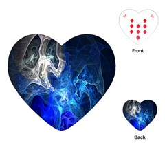 Ghost Fractal Texture Skull Ghostly White Blue Light Abstract Playing Cards (Heart)