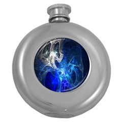 Ghost Fractal Texture Skull Ghostly White Blue Light Abstract Round Hip Flask (5 oz)