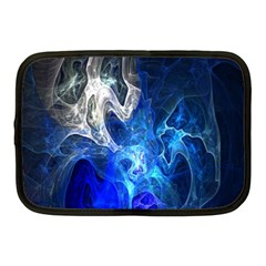 Ghost Fractal Texture Skull Ghostly White Blue Light Abstract Netbook Case (Medium)