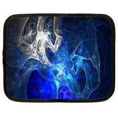Ghost Fractal Texture Skull Ghostly White Blue Light Abstract Netbook Case (large)