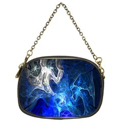 Ghost Fractal Texture Skull Ghostly White Blue Light Abstract Chain Purses (One Side)
