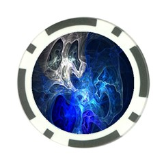 Ghost Fractal Texture Skull Ghostly White Blue Light Abstract Poker Chip Card Guard (10 pack)