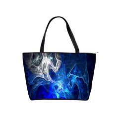 Ghost Fractal Texture Skull Ghostly White Blue Light Abstract Shoulder Handbags