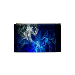 Ghost Fractal Texture Skull Ghostly White Blue Light Abstract Cosmetic Bag (Small)