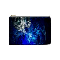 Ghost Fractal Texture Skull Ghostly White Blue Light Abstract Cosmetic Bag (Medium)