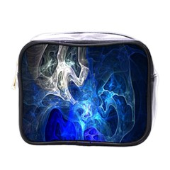 Ghost Fractal Texture Skull Ghostly White Blue Light Abstract Mini Toiletries Bags