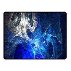 Ghost Fractal Texture Skull Ghostly White Blue Light Abstract Fleece Blanket (Small)