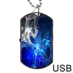 Ghost Fractal Texture Skull Ghostly White Blue Light Abstract Dog Tag Usb Flash (one Side)
