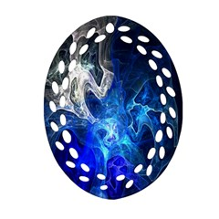 Ghost Fractal Texture Skull Ghostly White Blue Light Abstract Ornament (Oval Filigree)
