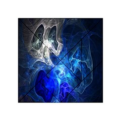 Ghost Fractal Texture Skull Ghostly White Blue Light Abstract Acrylic Tangram Puzzle (4  X 4 )