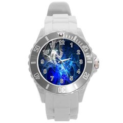 Ghost Fractal Texture Skull Ghostly White Blue Light Abstract Round Plastic Sport Watch (l)
