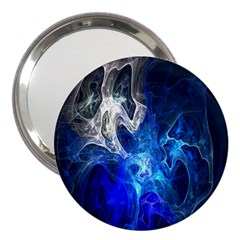 Ghost Fractal Texture Skull Ghostly White Blue Light Abstract 3  Handbag Mirrors
