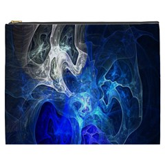 Ghost Fractal Texture Skull Ghostly White Blue Light Abstract Cosmetic Bag (XXXL)