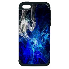 Ghost Fractal Texture Skull Ghostly White Blue Light Abstract Apple iPhone 5 Hardshell Case (PC+Silicone)