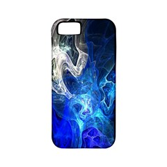 Ghost Fractal Texture Skull Ghostly White Blue Light Abstract Apple iPhone 5 Classic Hardshell Case (PC+Silicone)