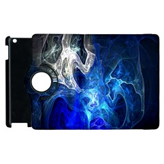 Ghost Fractal Texture Skull Ghostly White Blue Light Abstract Apple iPad 2 Flip 360 Case
