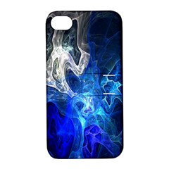 Ghost Fractal Texture Skull Ghostly White Blue Light Abstract Apple iPhone 4/4S Hardshell Case with Stand