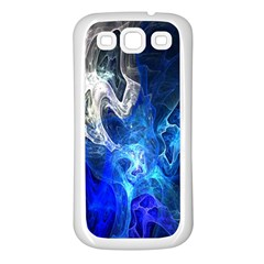 Ghost Fractal Texture Skull Ghostly White Blue Light Abstract Samsung Galaxy S3 Back Case (White)
