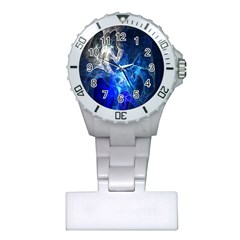 Ghost Fractal Texture Skull Ghostly White Blue Light Abstract Plastic Nurses Watch