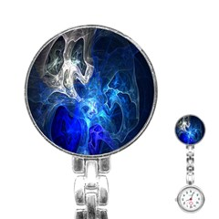 Ghost Fractal Texture Skull Ghostly White Blue Light Abstract Stainless Steel Nurses Watch