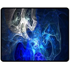 Ghost Fractal Texture Skull Ghostly White Blue Light Abstract Double Sided Fleece Blanket (Medium)