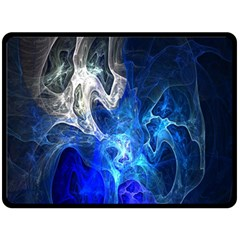 Ghost Fractal Texture Skull Ghostly White Blue Light Abstract Double Sided Fleece Blanket (Large)
