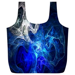 Ghost Fractal Texture Skull Ghostly White Blue Light Abstract Full Print Recycle Bags (L)