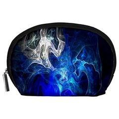 Ghost Fractal Texture Skull Ghostly White Blue Light Abstract Accessory Pouches (Large)