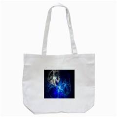 Ghost Fractal Texture Skull Ghostly White Blue Light Abstract Tote Bag (White)