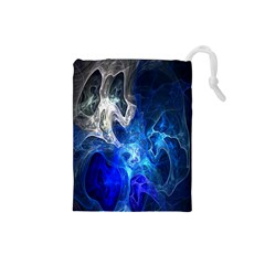 Ghost Fractal Texture Skull Ghostly White Blue Light Abstract Drawstring Pouches (Small)