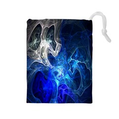 Ghost Fractal Texture Skull Ghostly White Blue Light Abstract Drawstring Pouches (large)