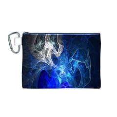 Ghost Fractal Texture Skull Ghostly White Blue Light Abstract Canvas Cosmetic Bag (M)