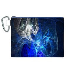 Ghost Fractal Texture Skull Ghostly White Blue Light Abstract Canvas Cosmetic Bag (xl)