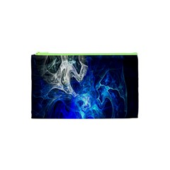 Ghost Fractal Texture Skull Ghostly White Blue Light Abstract Cosmetic Bag (xs)