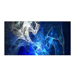 Ghost Fractal Texture Skull Ghostly White Blue Light Abstract Satin Wrap