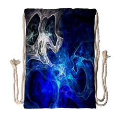 Ghost Fractal Texture Skull Ghostly White Blue Light Abstract Drawstring Bag (large)