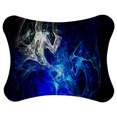 Ghost Fractal Texture Skull Ghostly White Blue Light Abstract Jigsaw Puzzle Photo Stand (Bow)