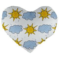 Sunshine Tech White Large 19  Premium Heart Shape Cushions