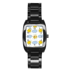 Sunshine Tech White Stainless Steel Barrel Watch