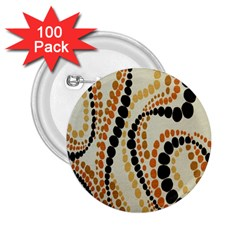 Polka Dot Texture Fabric 70s Orange Swirl Cloth Pattern 2.25  Buttons (100 pack)