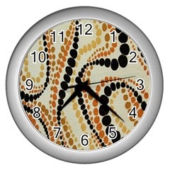 Polka Dot Texture Fabric 70s Orange Swirl Cloth Pattern Wall Clocks (Silver)