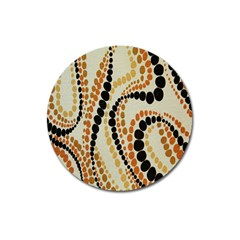 Polka Dot Texture Fabric 70s Orange Swirl Cloth Pattern Magnet 3  (round)