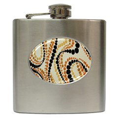 Polka Dot Texture Fabric 70s Orange Swirl Cloth Pattern Hip Flask (6 oz)