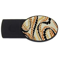 Polka Dot Texture Fabric 70s Orange Swirl Cloth Pattern USB Flash Drive Oval (1 GB)