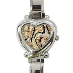 Polka Dot Texture Fabric 70s Orange Swirl Cloth Pattern Heart Italian Charm Watch