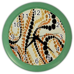 Polka Dot Texture Fabric 70s Orange Swirl Cloth Pattern Color Wall Clocks